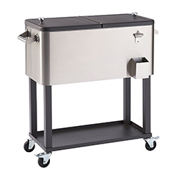 Trinity Stainless Steel Rolling Party Cooler with Shelf