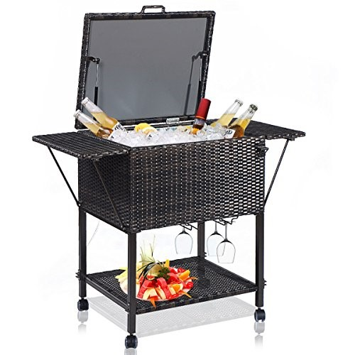 Giantex Portable Rattan Cooler Cart