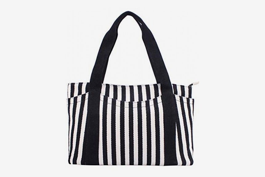 Canvas Tote Bag with Multiple PocketsZipper Closure