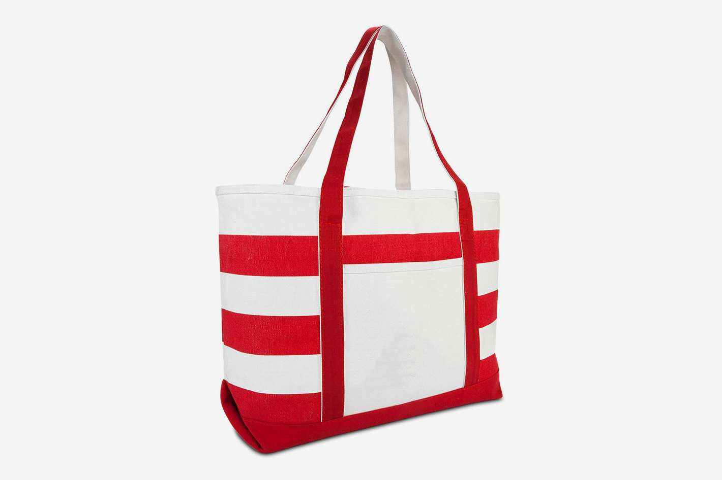 DALIX Striped Boat Bag Premium Cotton Canvas Tote