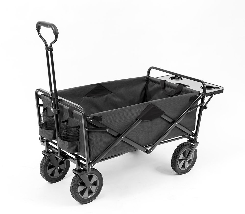 Mac Sports Collapsible Outdoor Utility Wagon with Folding Table and Drink Holders with Straps